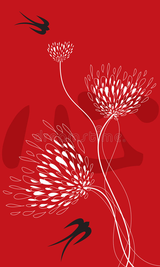Fleur et hirondelles sur le rouge illustration de vecteur