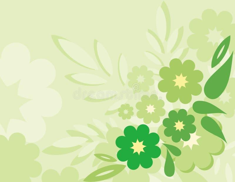 Fleur et ligne abstraites colorées vertes fond grand illustration de vecteur