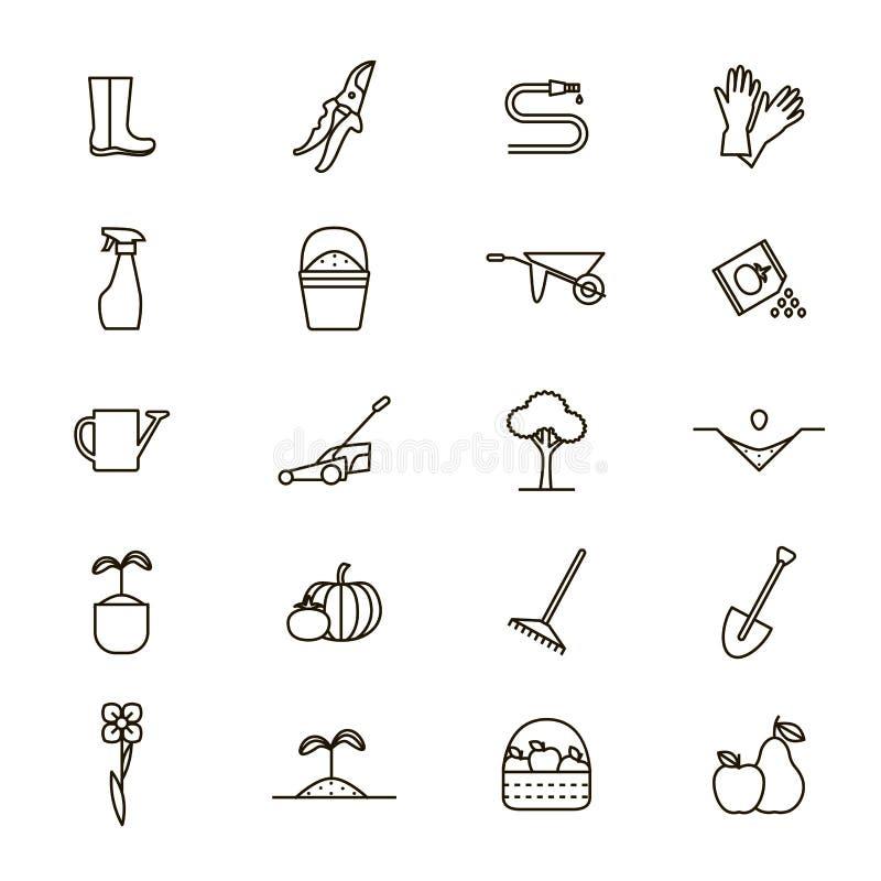 Fleur et ligne mince noire de jardinage ensemble de signes d'icône Vecteur illustration libre de droits