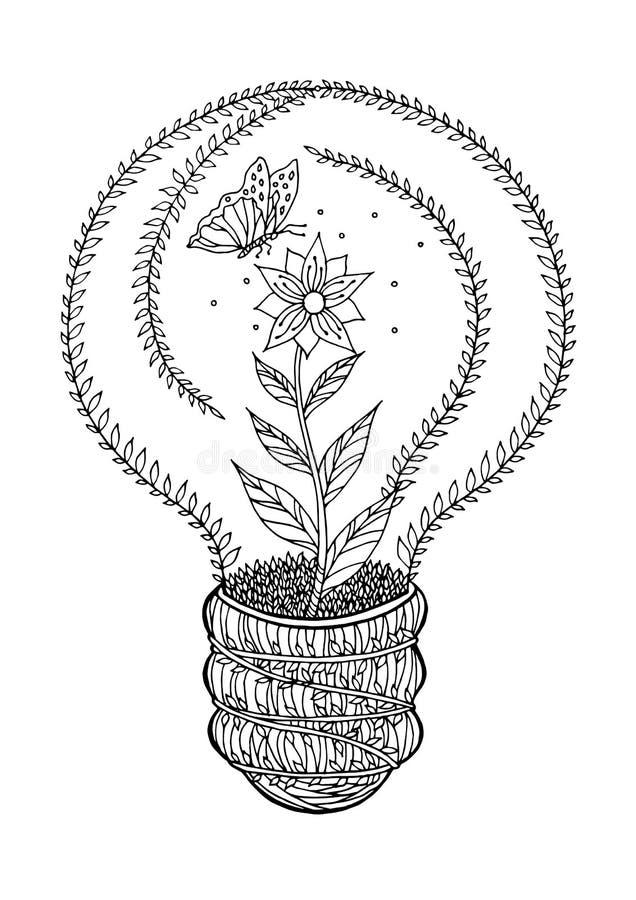 Fleur et papillon tirés par la main de dessin de vecteur d'ampoule d'écologie illustration libre de droits