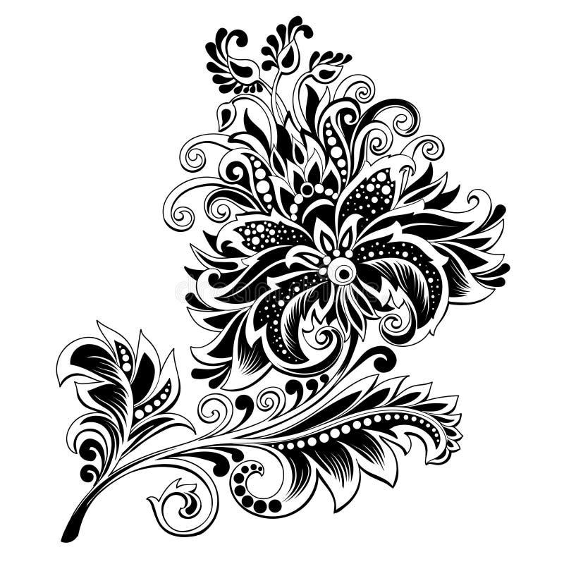 Fleur ethnique noire et blanche avec le modèle illustration de vecteur