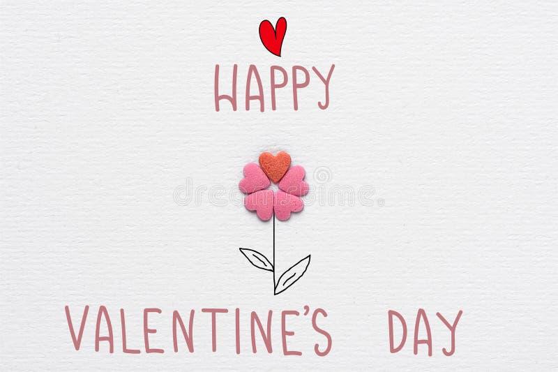 Fleur faite de tige dessinée par Sugar Candy Sprinkles Hearts Hand et feuilles marquant avec des lettres le jour de valentines he illustration stock