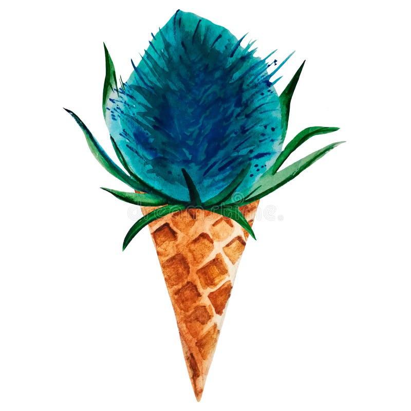 Fleur feverweed tirée par la main d'aquarelle dans un cône de gaufre illustration de vecteur