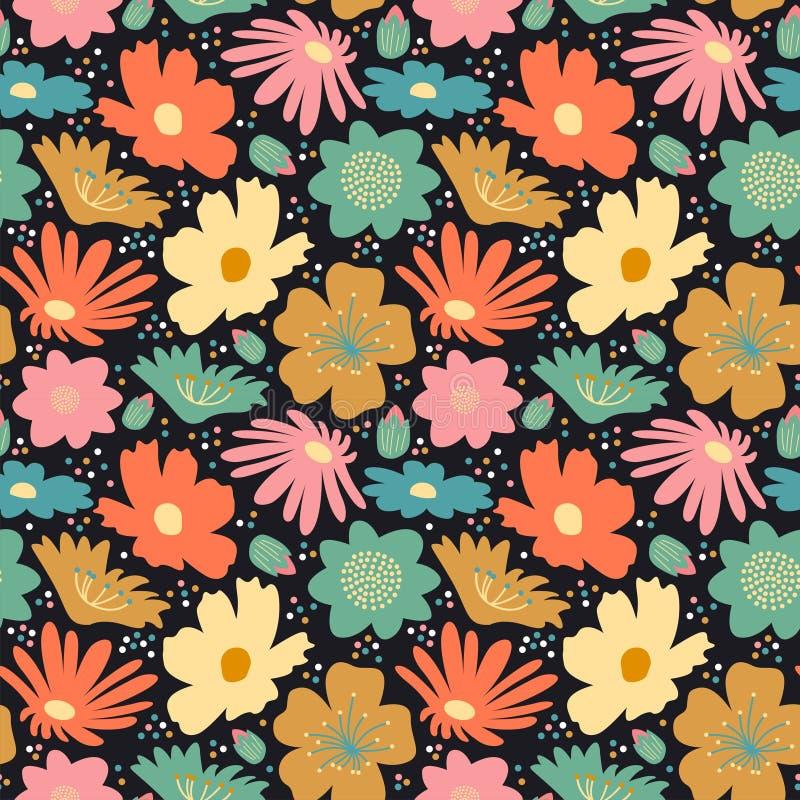 Fleur fleurir grand motif transparent arrière-plan gribouillé doodé à la main arrière-plan images stock