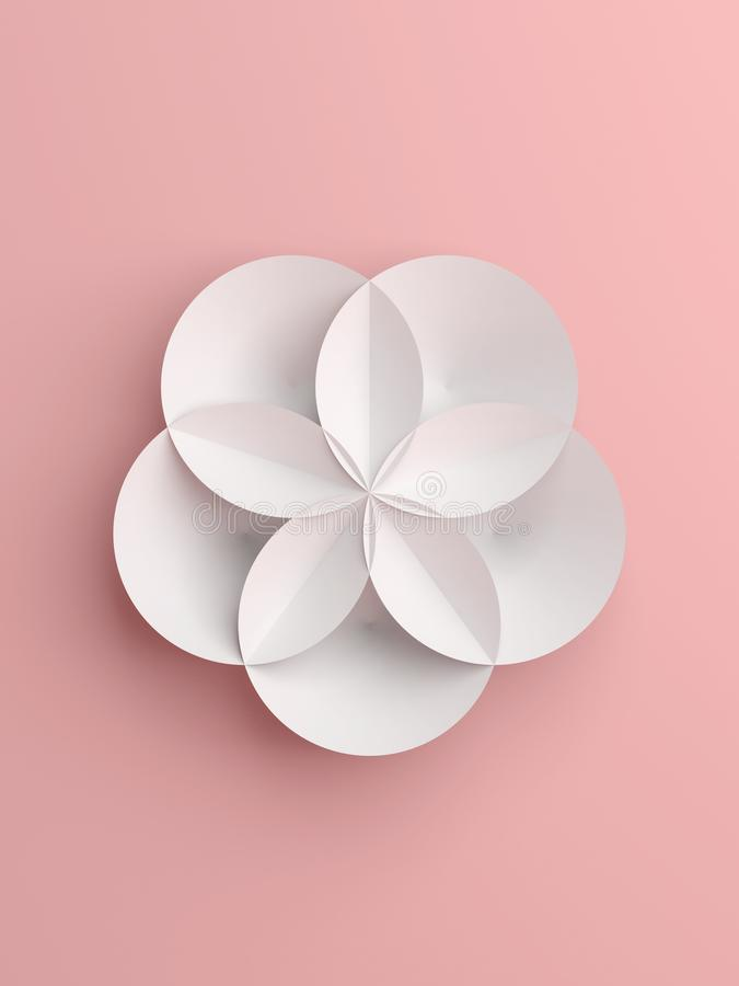 Fleur géométrique abstraite de livre blanc illustration de vecteur