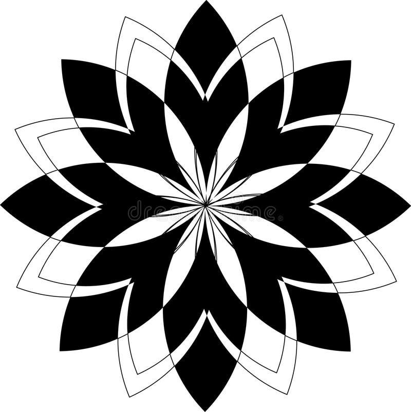 Fleur géométrique noire simple de modèle illustration de vecteur