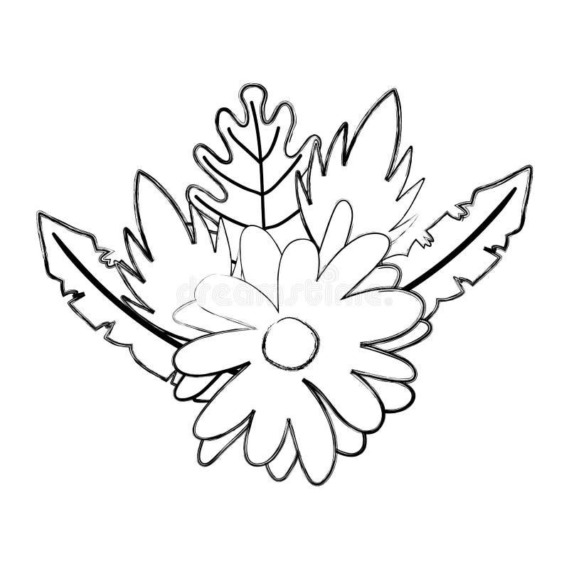 Fleur grunge de beauté avec des feuilles de plantes tropicales illustration de vecteur