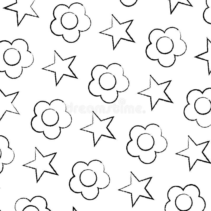 Fleur grunge de beauté avec le fond lumineux d'étoile illustration libre de droits