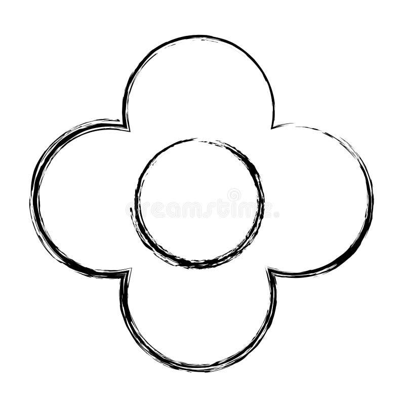 Fleur grunge de beauté avec le style exotique de pétales illustration de vecteur