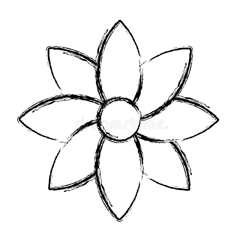Fleur grunge de beauté avec le style naturel de pétales illustration stock