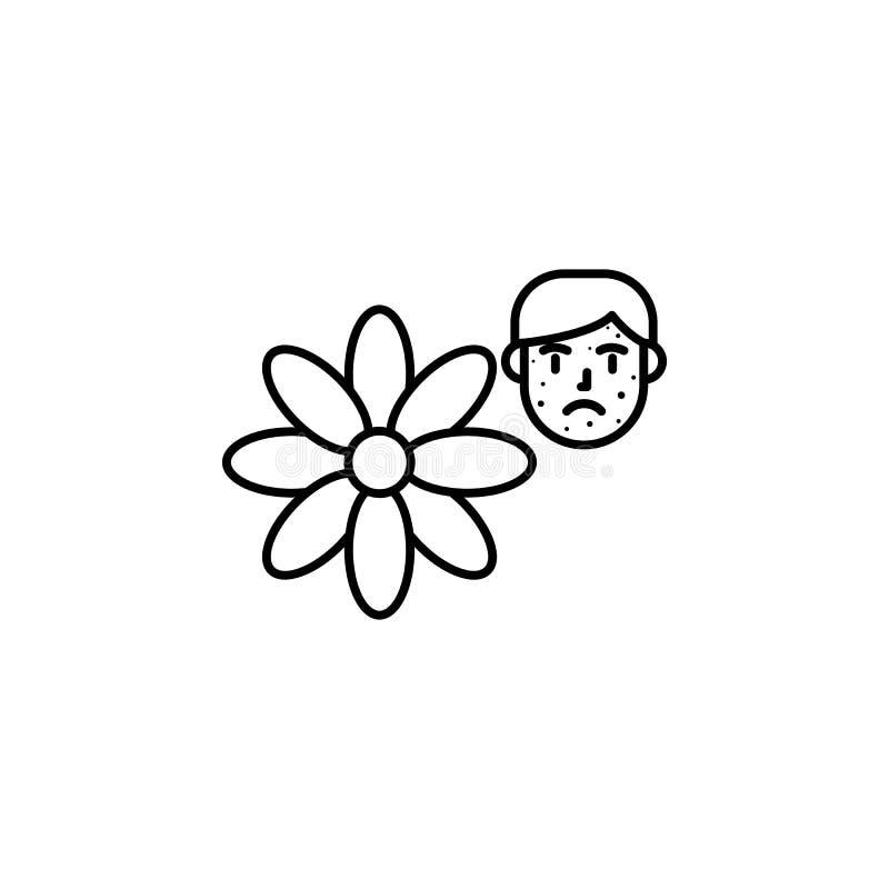Fleur, icône allergique de visage Élément des problèmes avec l'icône d'allergies Ligne mince icône pour la conception de site Web illustration stock