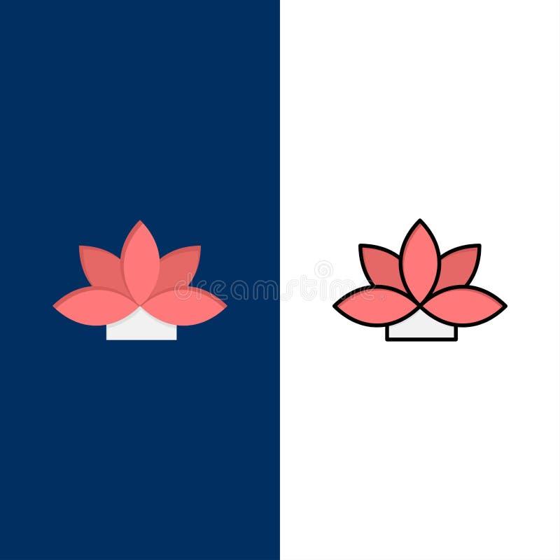 Fleur, Inde, Lotus, icônes d'usine L'appartement et la ligne icône remplie ont placé le fond bleu de vecteur illustration stock