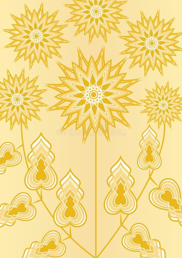 Fleur jaune d'imagination sur le fond jaune-clair, illustration de schéma, calibre pour l'affiche, invitation, félicitation illustration libre de droits