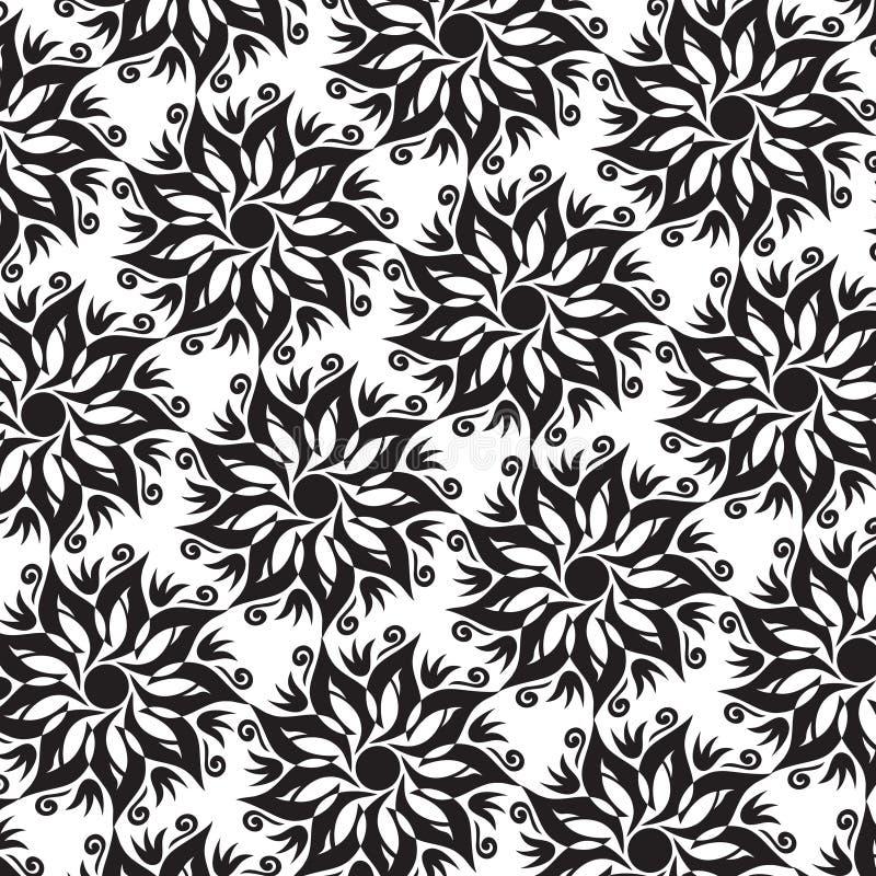 Fleur Mandala Seamless Pattern - couleurs noires et blanches illustration libre de droits