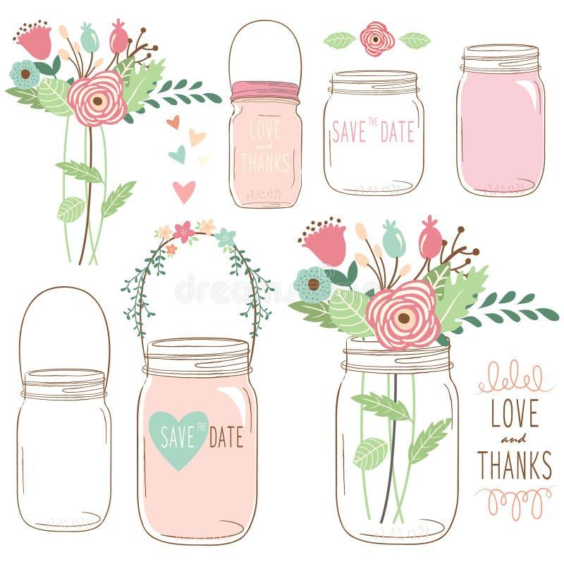 Fleur Mason Jar de mariage d'aspiration de main illustration libre de droits
