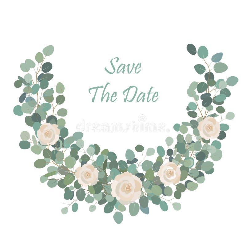 Fleur mignonne blanche de Rose avec la branche d'eucalyptus de dollar en argent, guirlande ronde La salutation, mariage invitent  illustration de vecteur