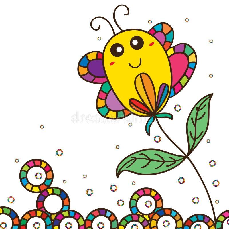 Fleur mignonne de bâton de gros papillon illustration de vecteur