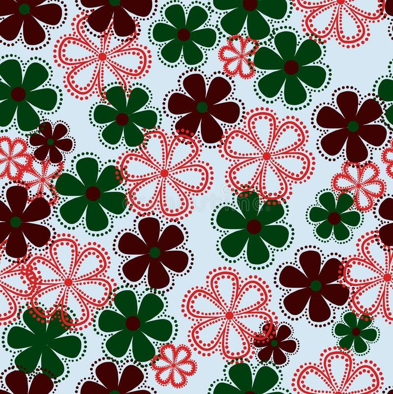 Fleur, modèle, floral, fleurs, conception, sans couture, abstraite, illustration, vert, papier peint, nature, décoration, art, co illustration stock