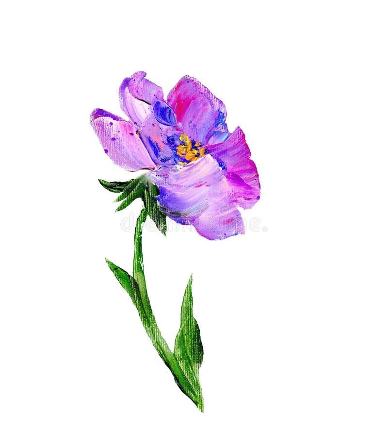 Fleur moderne peinte à la main de pourpre de style illustration de vecteur