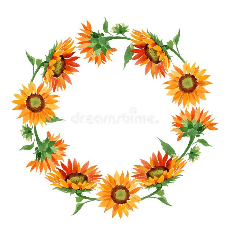 Fleur orange de tournesol d'aquarelle Fleur botanique florale Place d'ornement de frontière de vue illustration stock