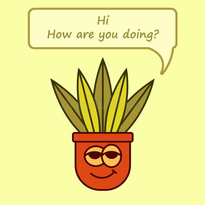 Fleur-pot frais de bande dessinée avec l'expression salut, comment faites-vous ? illustration de vecteur