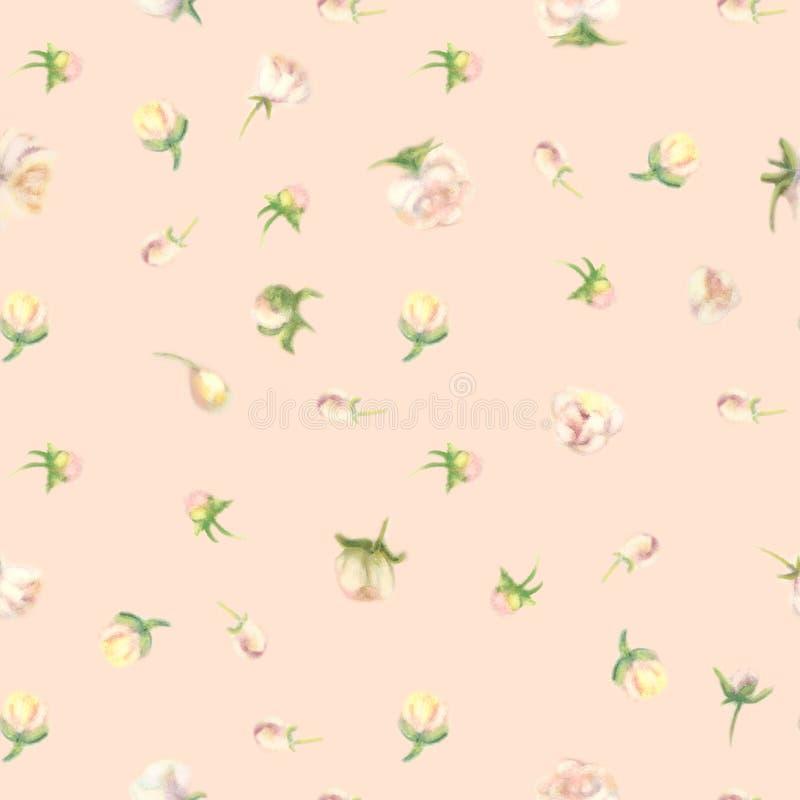 Fleur pour aquarelle de tache floue, fond sans couture fané illustration libre de droits