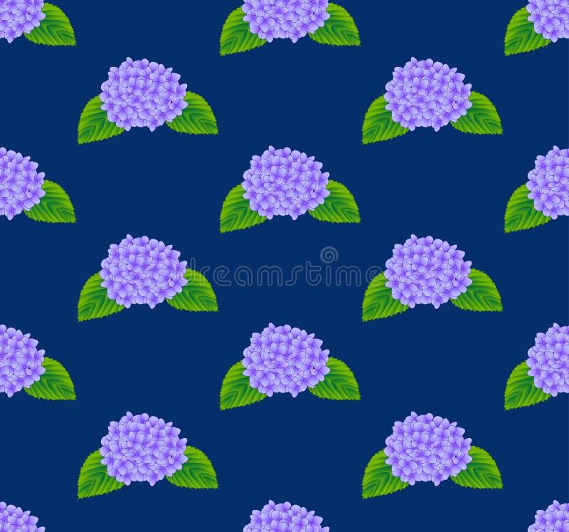 Fleur pourpre d'hortensia sans couture sur le fond de bleu d'indigo Illustration de vecteur illustration libre de droits