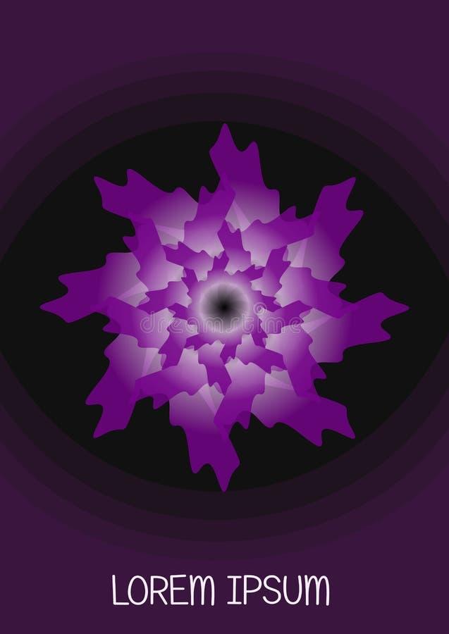 Fleur pourpre d'imagination sur le fond noir Forme de flourish d'abrégé sur vecteur dans la conception de gradient Fond de calibr illustration stock