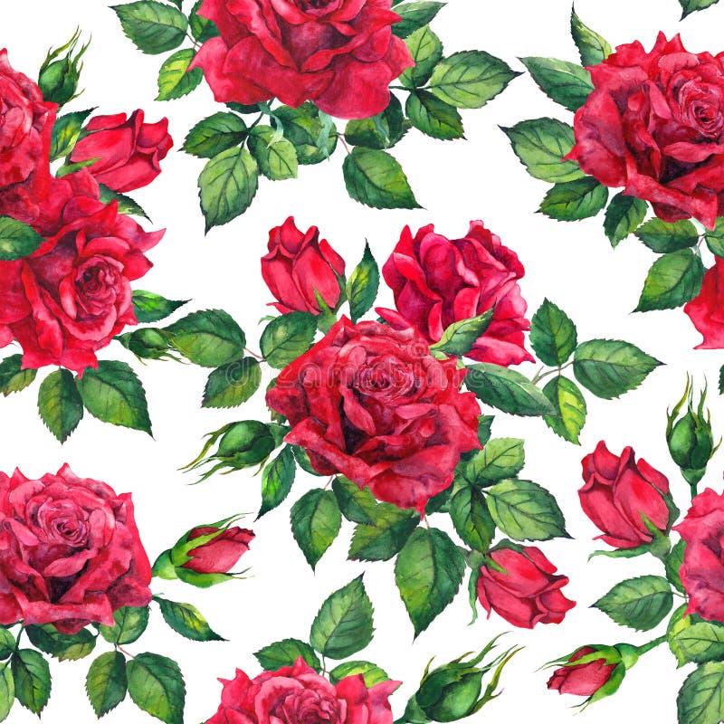 Fleur romantique - fleurs de roses rouges Fond floral sans joint watercolor illustration libre de droits
