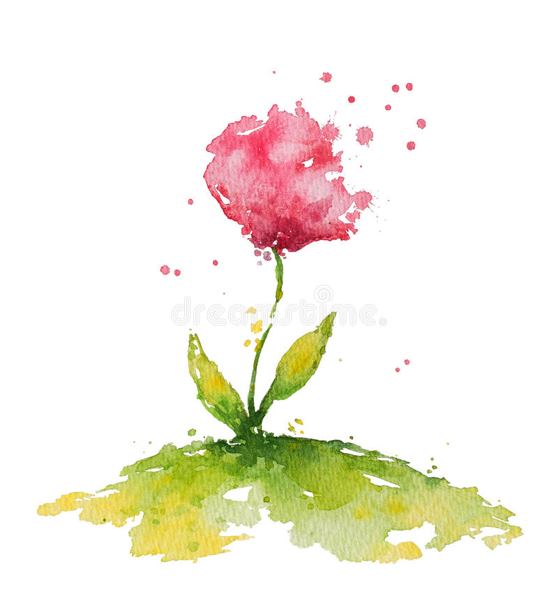Fleur rose d'aquarelle illustration libre de droits