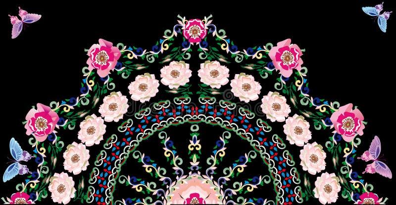 Fleur rose de bruyère à moitié autour de configuration illustration stock