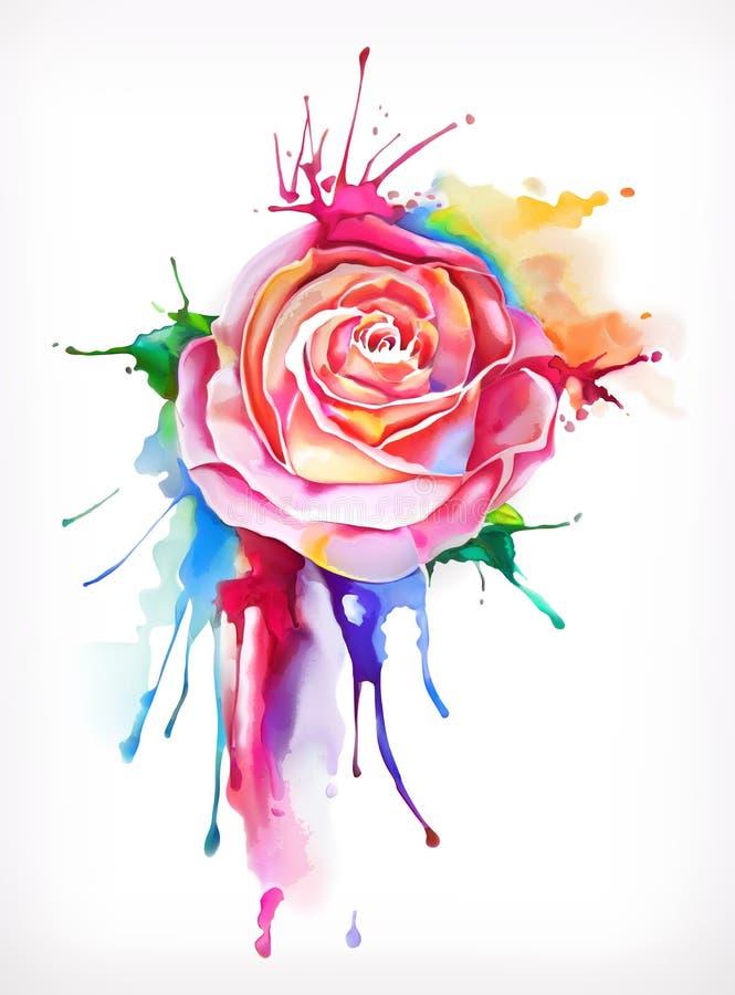 Fleur rose de peinture d'aquarelle illustration libre de droits