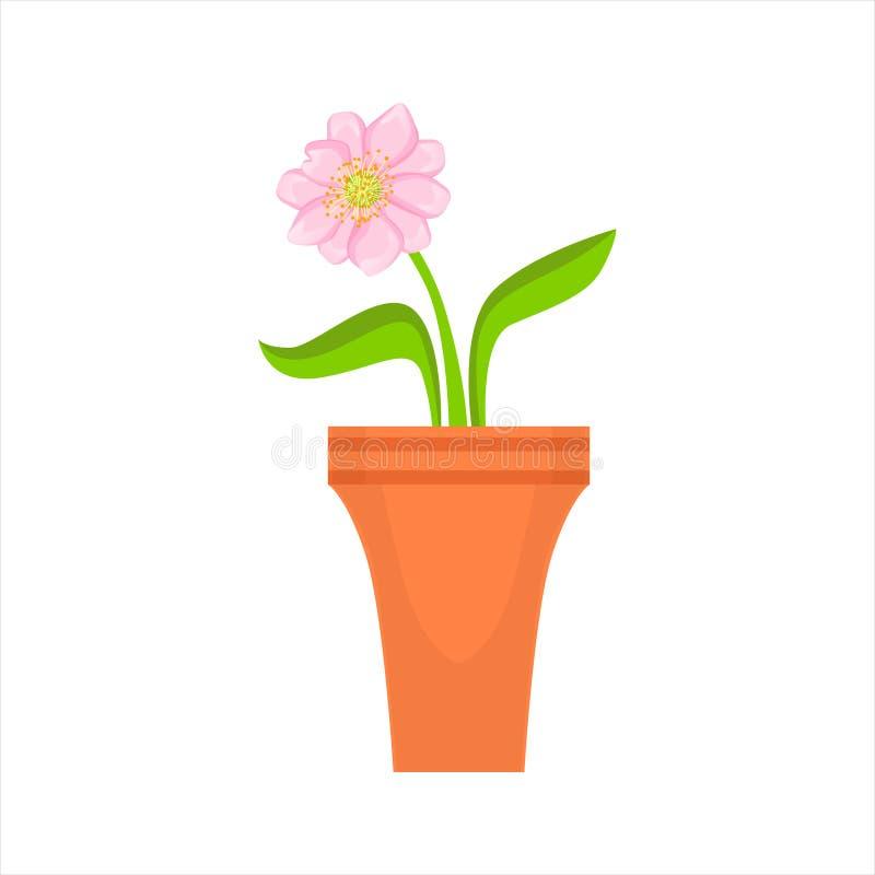 Fleur rose simple à la maison dans le pot de fleurs, illustration décorative de vecteur de bande dessinée d'article d'assortiment illustration de vecteur