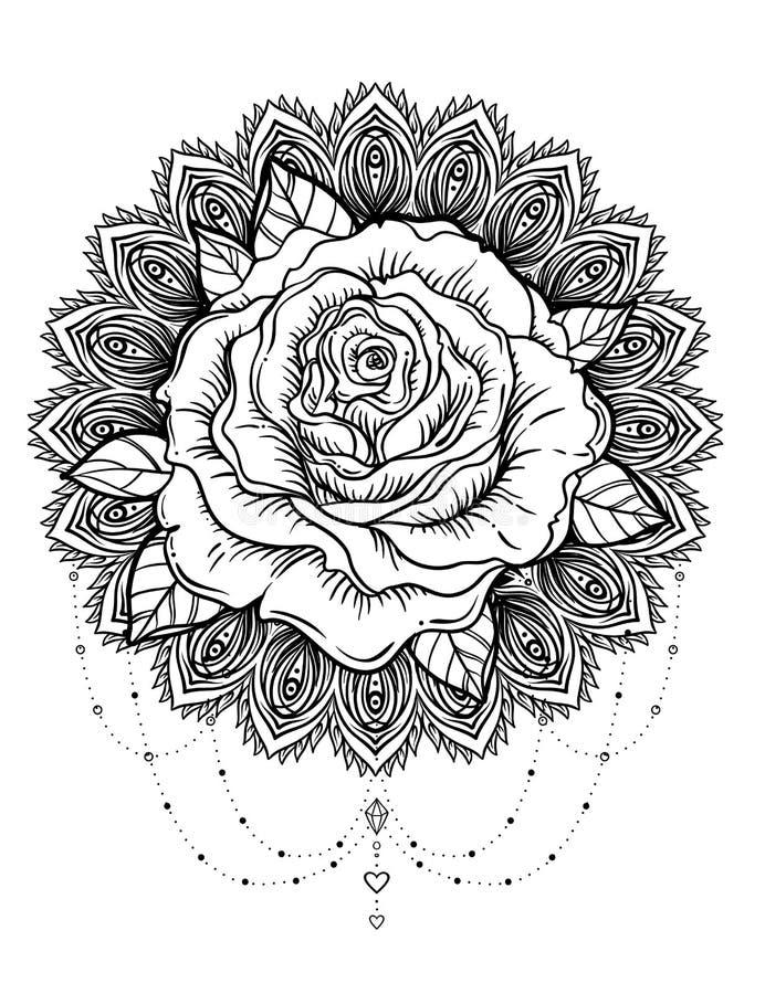 Fleur rose tirée par la main au-dessus de mandala rond fleuri de modèle Vecteur illustration libre de droits