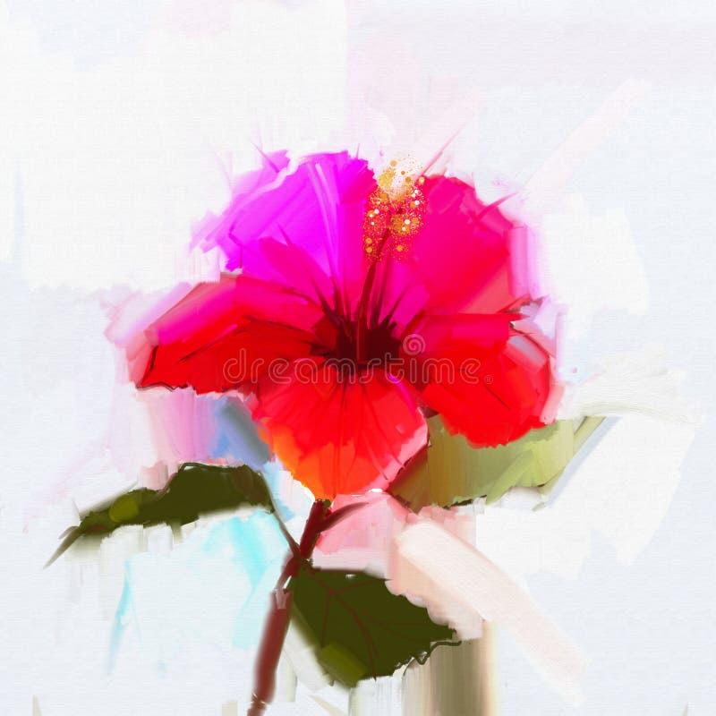 Fleur rouge abstraite de ketmie de peinture à l'huile illustration stock
