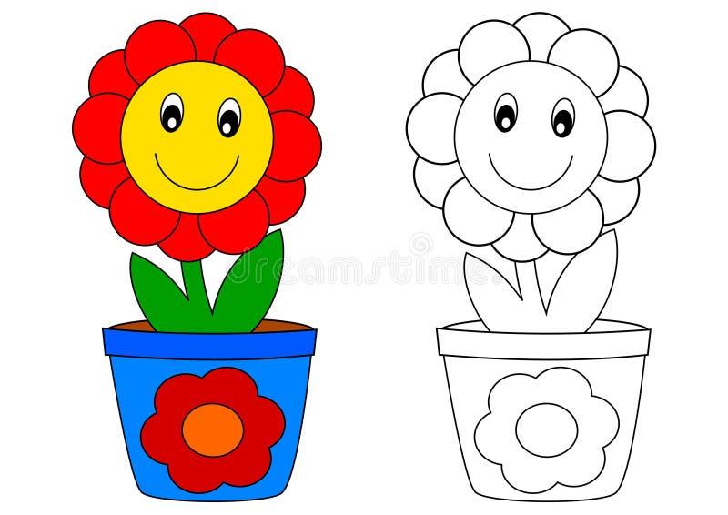 Fleur rouge dans le pot bleu - livre de coloriage illustration stock