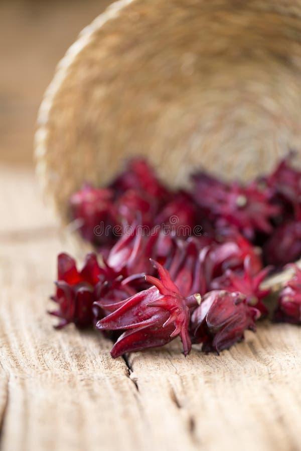 Fleur rouge de fruit de sabdariffa de Roselle Hibiscus sur le backgroun en bois photo stock