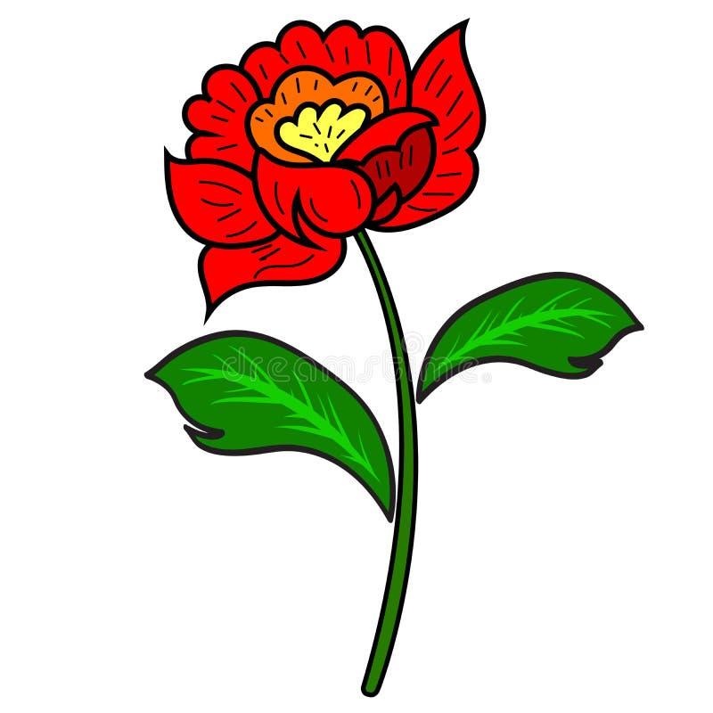 Fleur rouge de tige et de feuilles illustration libre de droits