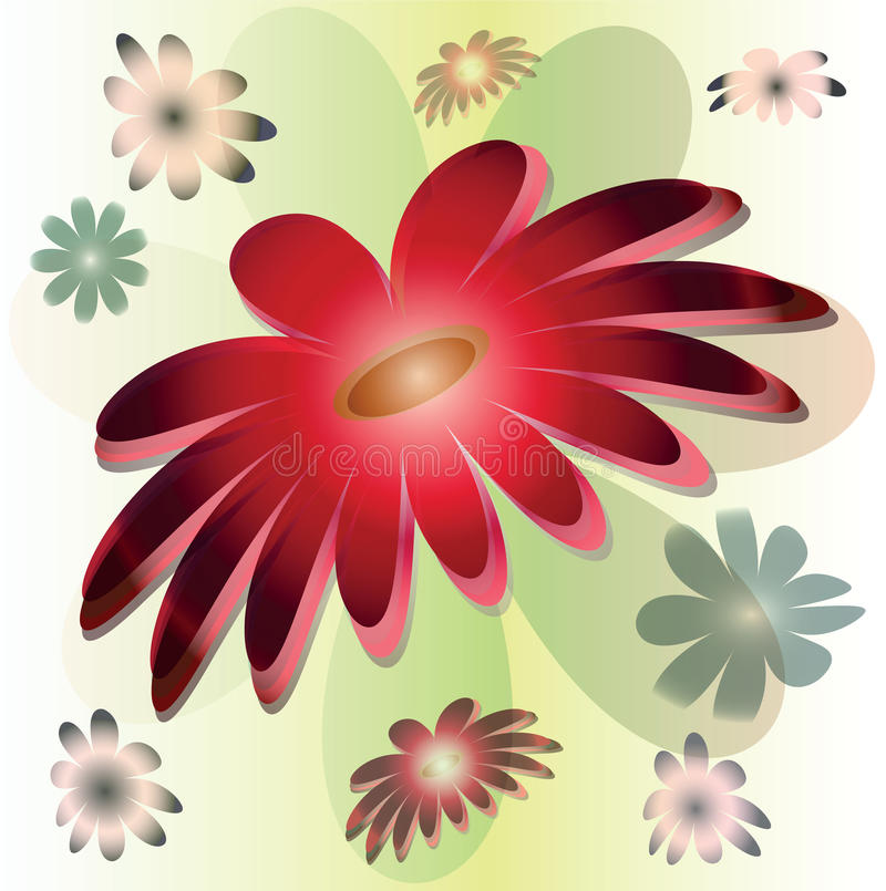 Fleur rouge stylisée de vecteur grande illustration stock