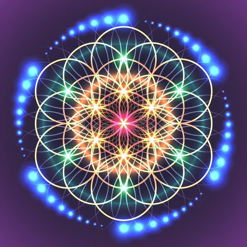 Fleur sacrée de la géométrie de durée illustration de vecteur