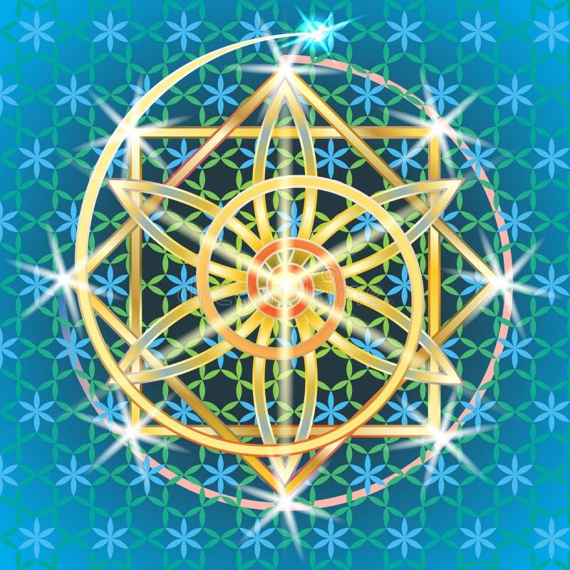 Fleur sacrée II de la géométrie illustration stock