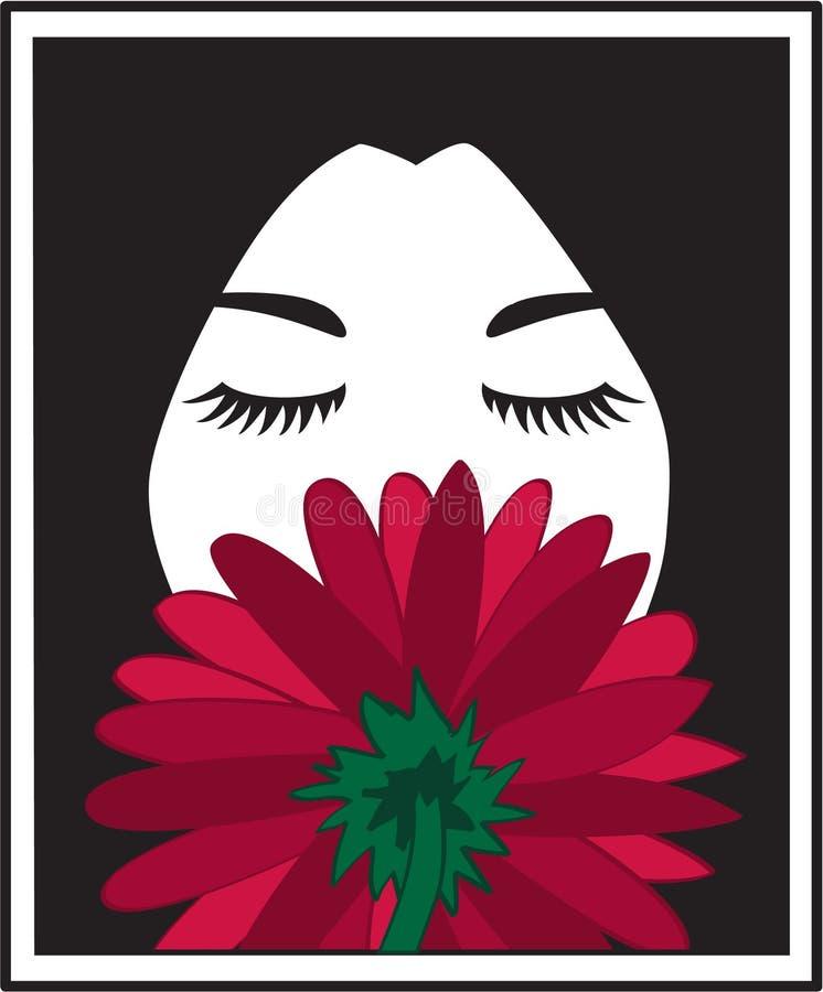 Fleur sentante de fille illustration stock