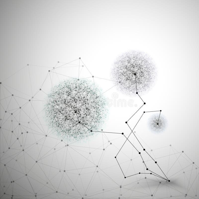 Fleur sous forme de structure moléculaire, grise illustration libre de droits