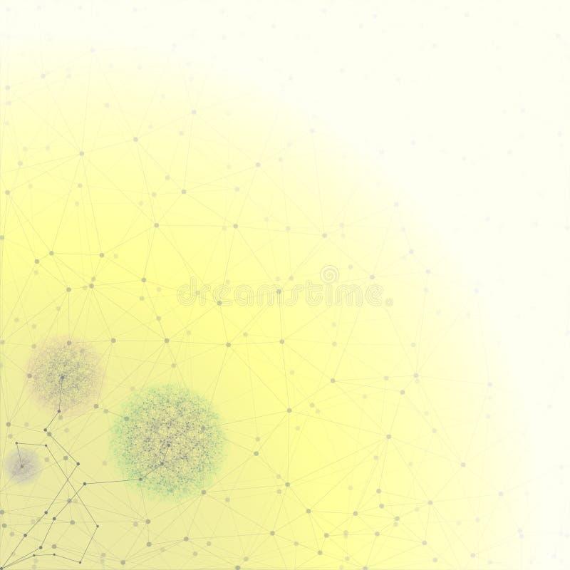 Fleur sous forme de structure moléculaire, jaune illustration libre de droits