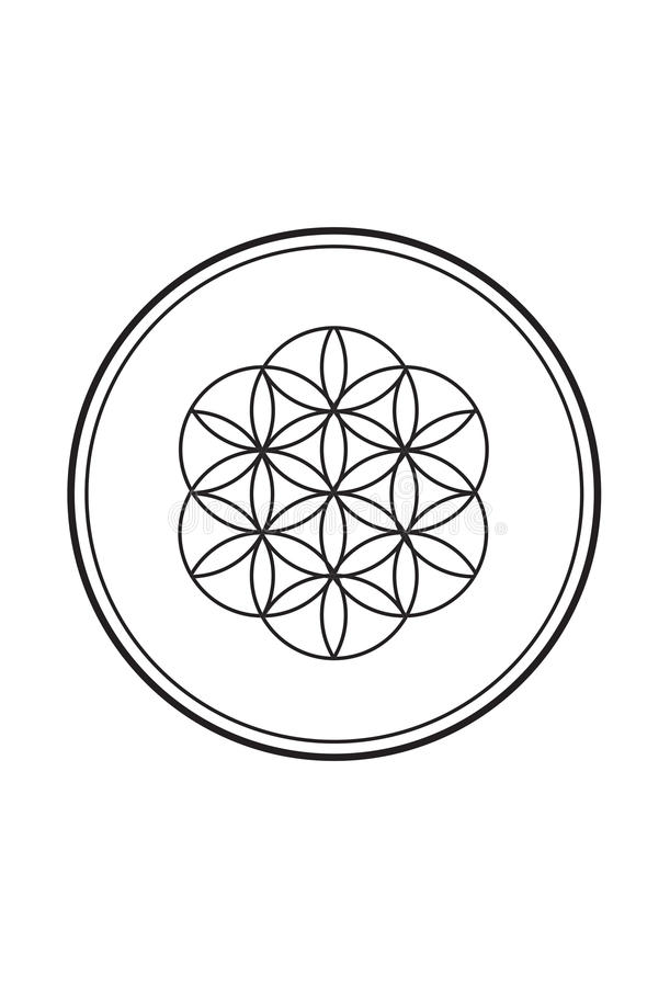 Fleur spirituelle simple de l'illustration noire et blanche 2 de la vie illustration libre de droits