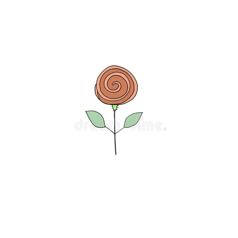 Fleur Stylisée Simple De Couleur Illustration Stock