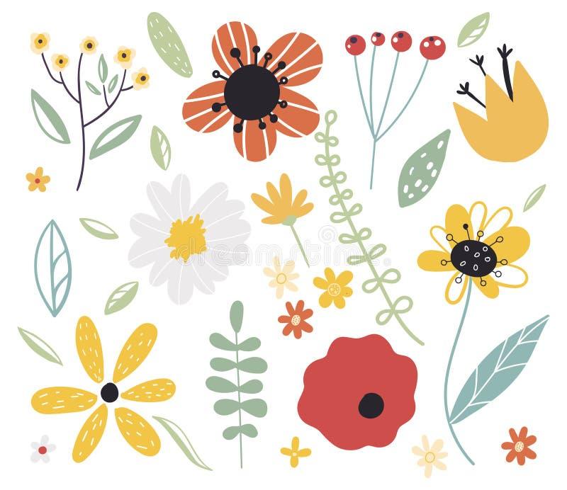 Fleur tôt de forêt et de jardin de ressort Ensemble d'?l?ments d?coratifs de conception florale Illustration plate de vecteur de  illustration stock