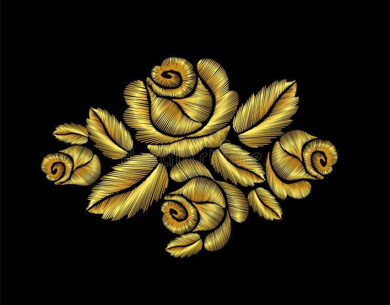 Fleur tirée par la main d'or d'illustration de roses de mode d'or de broderie illustration de vecteur