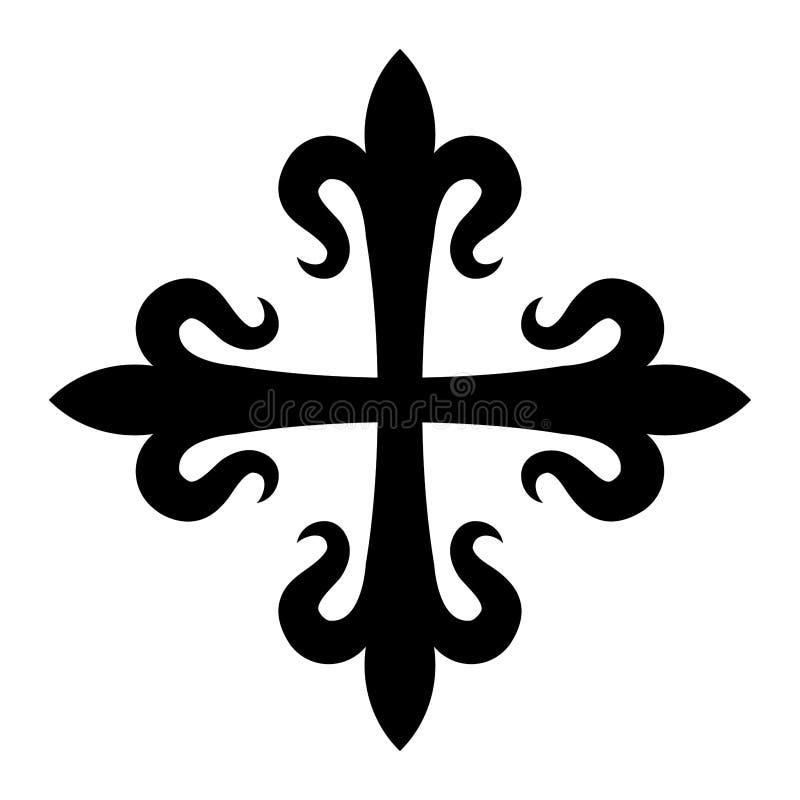 Fleurdelisée Croix иллюстрация вектора