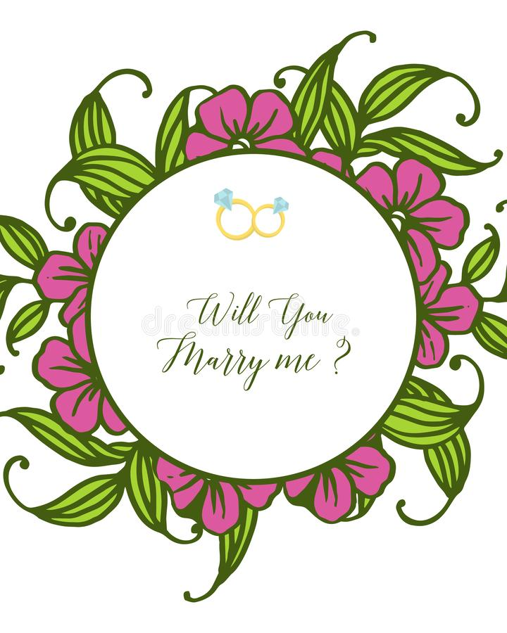 Fleuri d'illustration de vecteur divers du cadre pourpre de fleur pour la lettre vous m'?pouserez illustration libre de droits